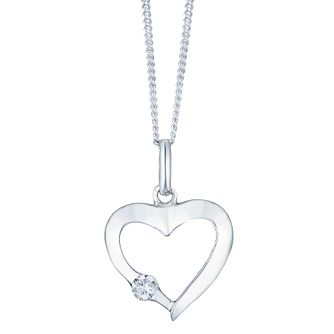 Sterling Silver Cubic Zirconia Set Open Heart Pendant - Product number 4415140