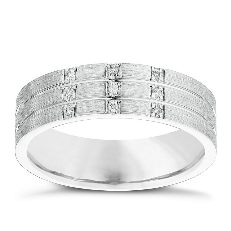 Men's Sterling Silver Diamond Set Band - Product number 4415159