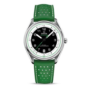 Omega Stainless Steel Seamaster Olympic Green Strap Watch - Product number 4415833
