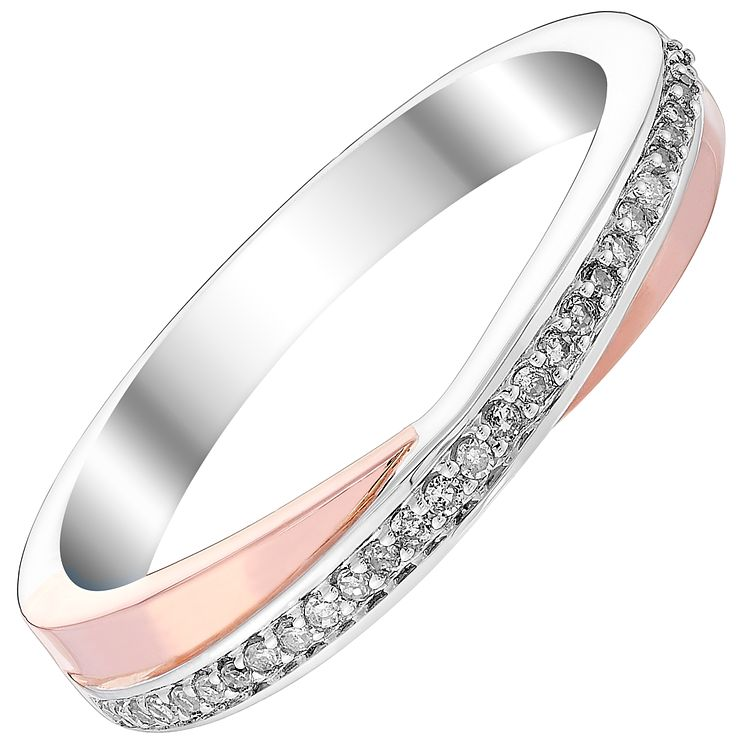 9ct White & Rose Gold Diamond Crossover Band - Product number 4417291