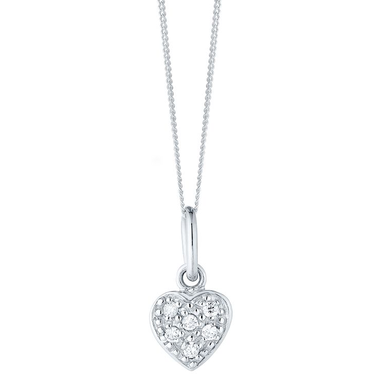 Sterling Silver Tiny Cubic Zirconia Set Heart Pendant - Product number 4417879
