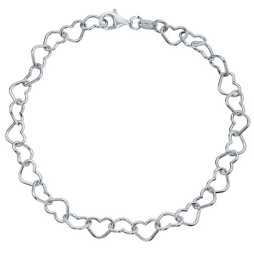 Rhodium-plated Sterling Silver Plain Hearts Link Bracelet - Product number 4419669