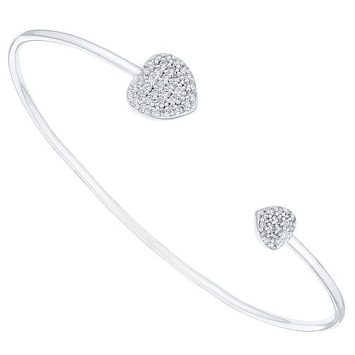 Sterling Silver Cubic Zirconia Set Heart Torque Bangle - Product number 4420497