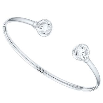 Sterling Silver Cubic Zirconia Set Torque Bangle - Product number 4420918