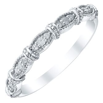 Ladies' 9ct White Gold 0.10 Carat Diamond Marquise Band - Product number 4421272
