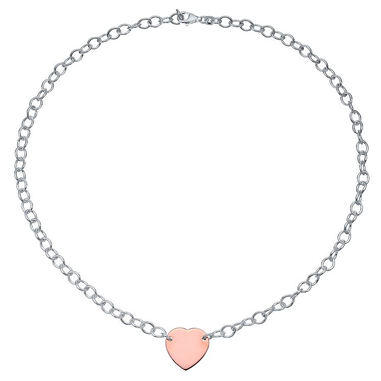 Sterling Silver & Rose Gold-Plated Heart Necklace - Product number 4422015