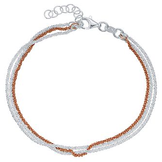 Sterling Silver & Rose Gold-Plated 3 Strand Bracelet - Product number 4422082