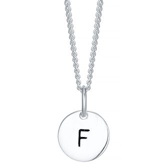 Sterling Silver Small Initial F Disc Pendant - Product number 4422198