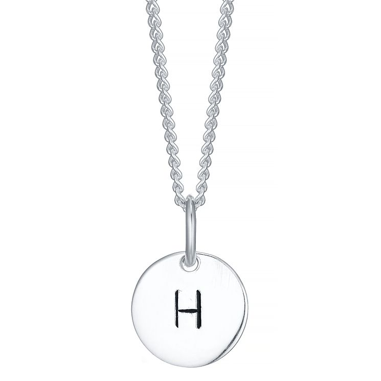 Sterling Silver Small Initial H Disc Pendant - Product number 4422228