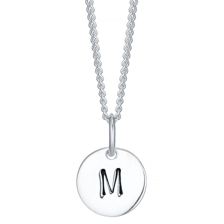 Sterling Silver Small Initial M Disc Pendant - Product number 4422279