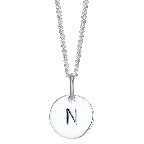 Sterling Silver Small Initial N Disc Pendant - Product number 4422287