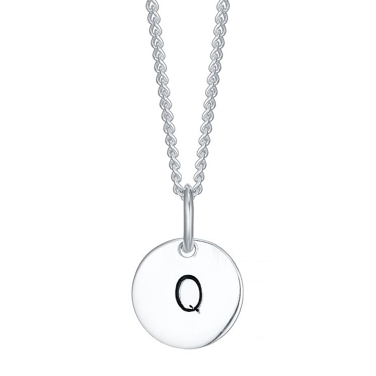 Sterling Silver Small Initial Q Disc Pendant - Product number 4422317