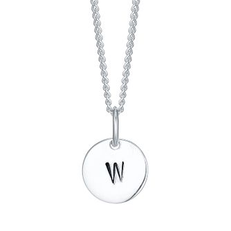Sterling Silver Small Initial W Disc Pendant - Product number 4422678