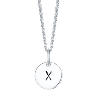 Sterling Silver Small Initial X Disc Pendant - Product number 4422694