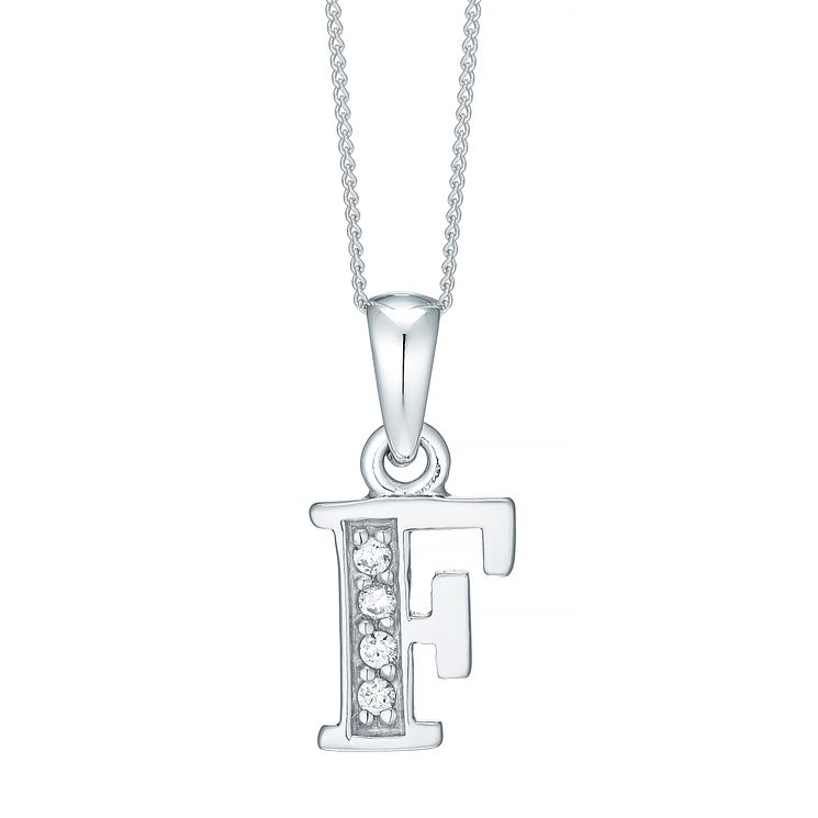 Rhodium-plated Cubic Zirconia Initial F Pendant - Product number 4422961