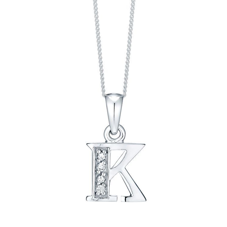 Rhodium-plated Cubic Zirconia Initial K Pendant - Product number 4423224
