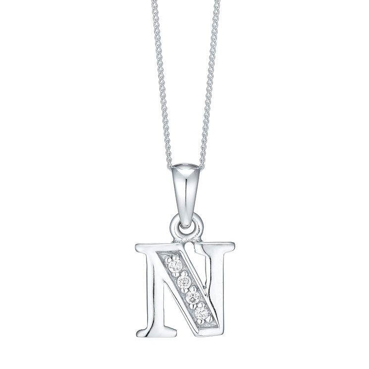 Rhodium-plated Cubic Zirconia Initial N Pendant - Product number 4423275