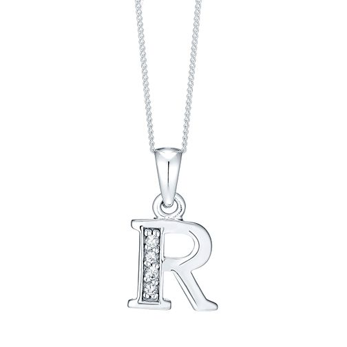 Rhodium-plated Cubic Zirconia Initial R Pendant - Product number 4423410