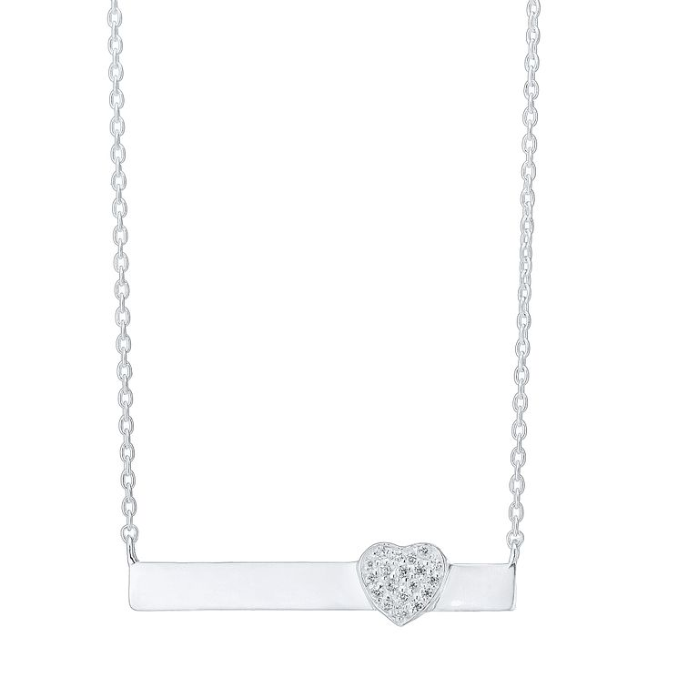 Sterling Silver Cubic Zirconia Set Heart Tag Pendant - Product number 4423887