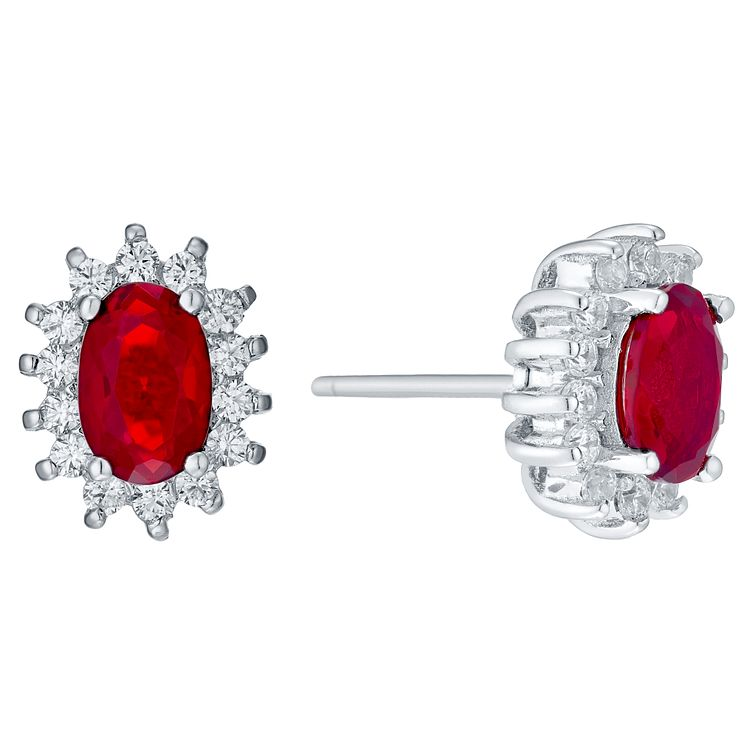 Sterling Silver Red Glass & Cubic Zirconia Stud Earrings - Product number 4423968