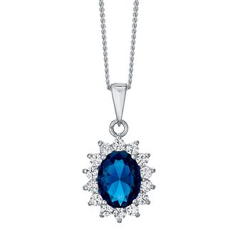 Sterling Silver Blue Glass & Cubic Zirconia Cluster Pendant - Product number 4423976