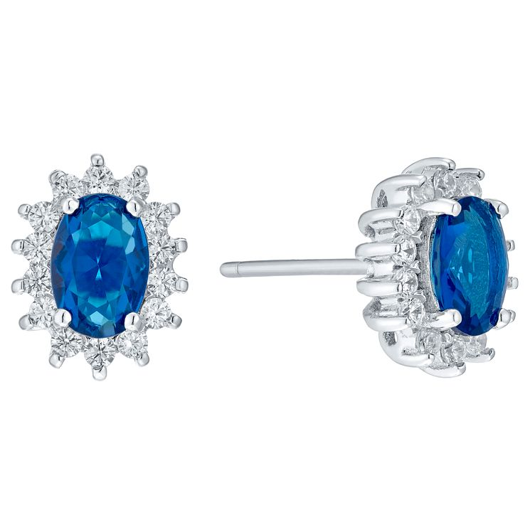 Sterling Silver Blue Glass & Cubic Zirconia Stud Earrings - Product number 4423984