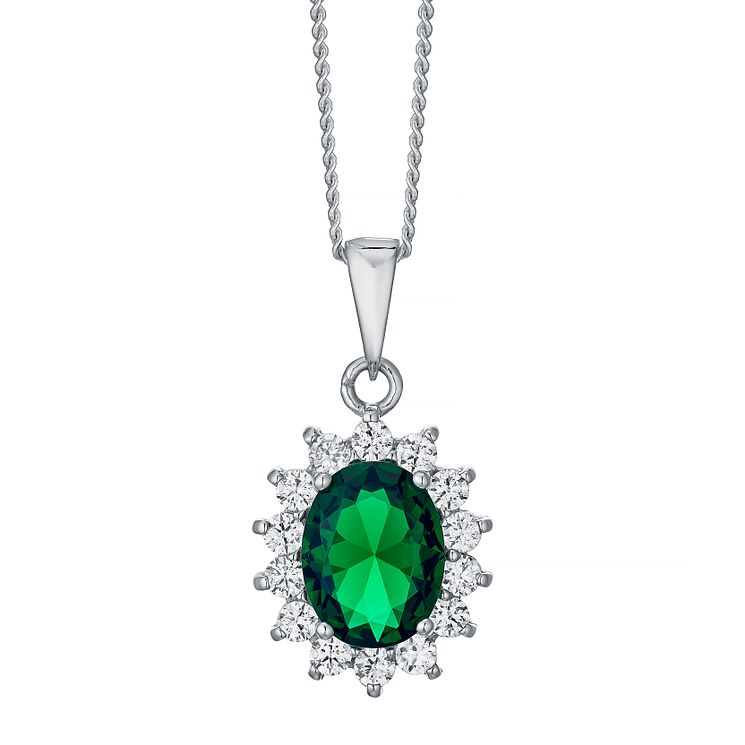 Sterling Silver Green Glass & Cubic Zirconia Cluster Pendant - Product number 4424034