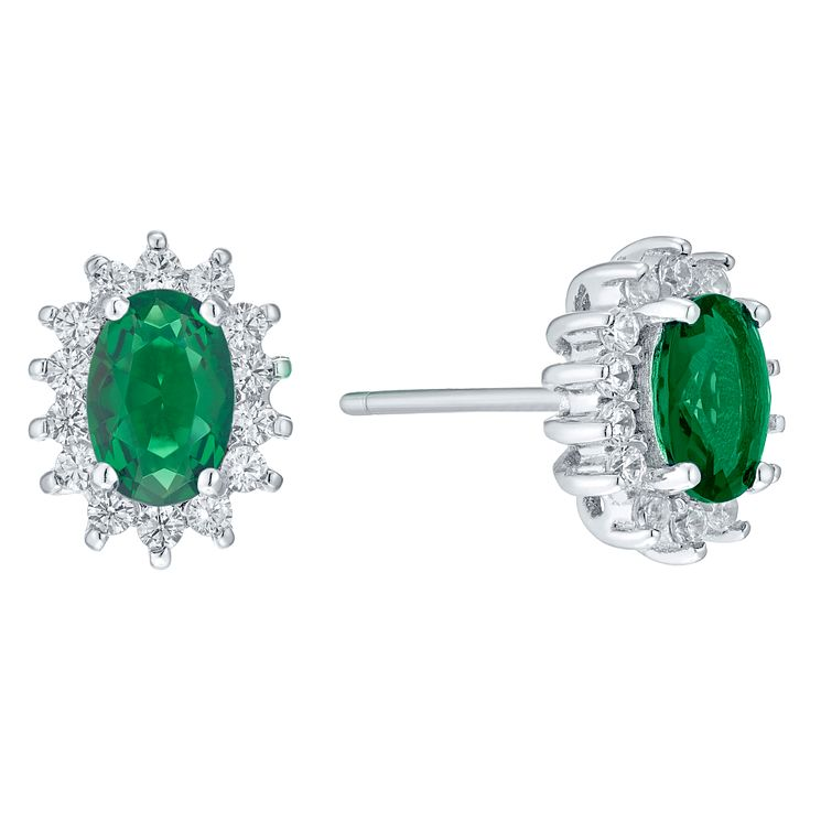 Sterling Silver Green Glass & Cubic Zirconia Stud Earrings - Product number 4424042