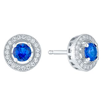 Sterling Silver Blue Cubic Zirconia Halo Stud Earrings - Product number 4424115