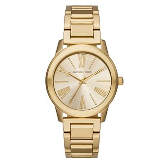 Michael Kors Ladies' Gold Tone Bracelet Gold Dial Watch - Product number 4424212