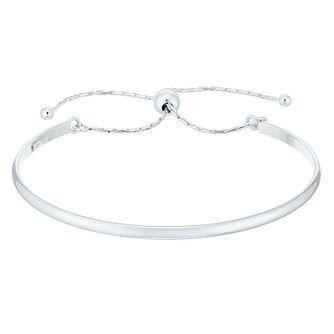 Sterling Silver Plain Pull Adjustable Bangle Bracelet - Product number 4437225