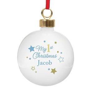 Personalised Gold & Blue Stars My 1st Christmas Bauble - Product number 4442237
