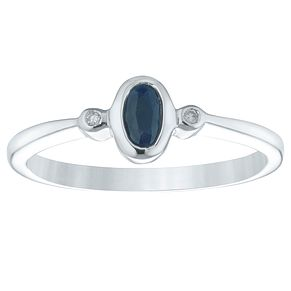 Sterling Silver Oval Sapphire & Diamond Ring - Product number 4442768