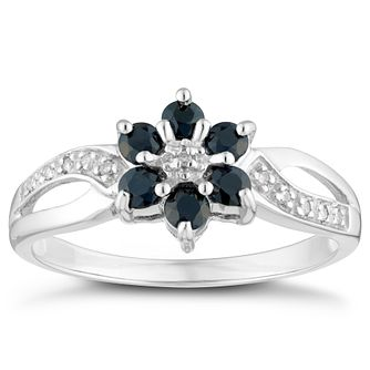 Sterling Silver Sapphire & Diamond Cluster Ring - Product number 4442881
