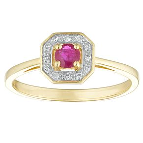 9ct Yellow Gold Ruby & Diamond Halo Ring - Product number 4443713