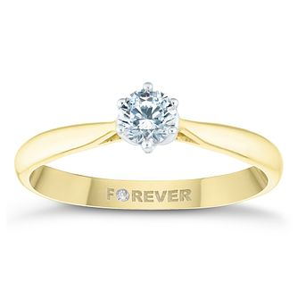 18ct Yellow Gold 1/4ct Forever Diamond Solitaire Ring - Product number 4445481