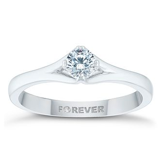 18ct White Gold 1/3ct Forever Diamond Solitaire Ring - Product number 4446070