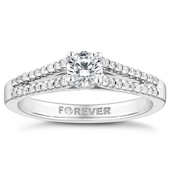18ct White Gold 1/2ct Forever Diamond Solitaire Ring - Product number 4446224