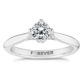 18ct White Gold 1/2ct Forever Diamond 4-Claw Solitaire Ring - Product number 4446372