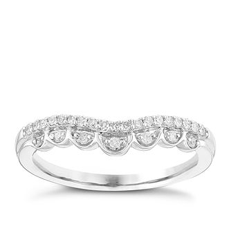 Ladies' 9ct White Gold 0.12 Carat Fancy Shaped Band - Product number 4447166