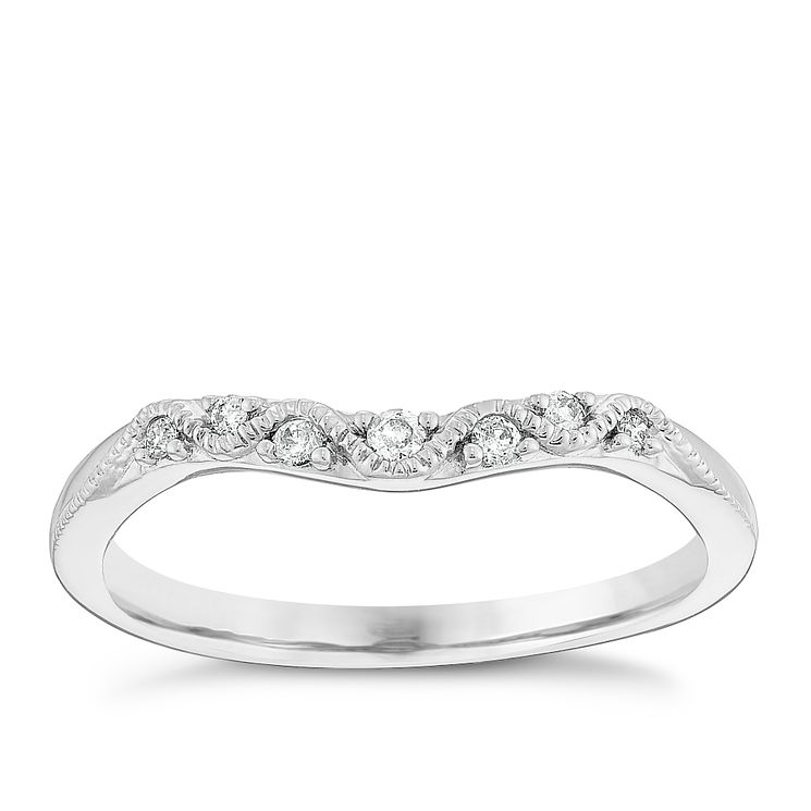 9ct White Gold Diamond Set Vintage Style Shaped Band - Product number 4447743