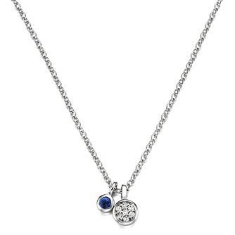 Vera Wang Sterling Silver Sapphire and Diamond Pendant - Product number 4450264