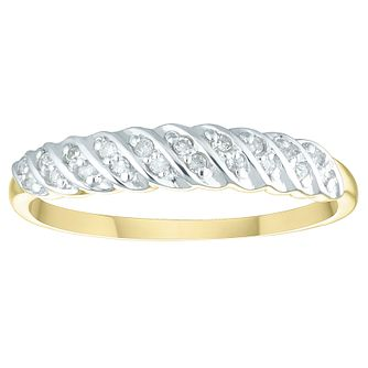 9ct Yellow Gold & Rhodium Plated Diamond Eternity Ring - Product number 4450329