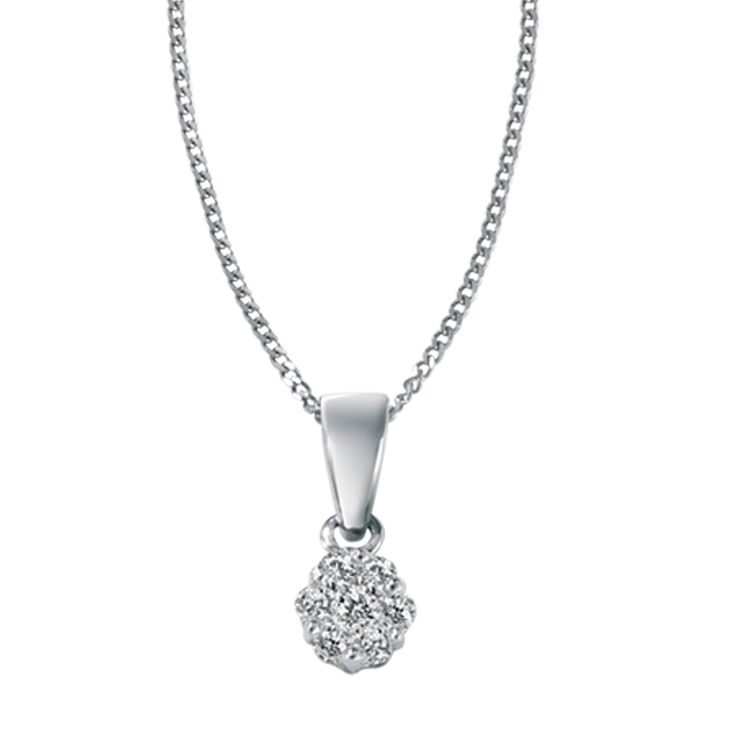 9ct white gold 12 point diamond pendant necklace - Product number 4455347