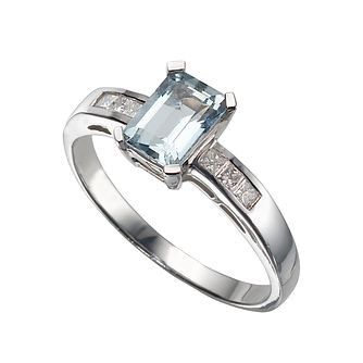 9ct white gold aquamarine and diamond ring - Product number 4455568