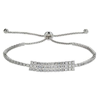 Mikey Silver Tone Stone Set Tennis Adjustable Bracelet - Product number 4458877