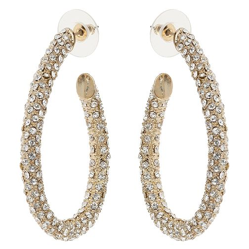 Mikey Gold Tone Crystal Set Hoop Earrings - Product number 4459318