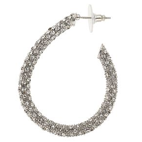 Mikey Silver Tone Crystal Set Hoop Earrings - Product number 4459377