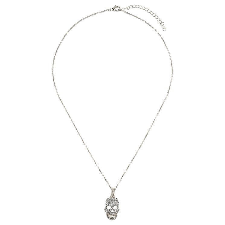 Mikey Silver Tone Crystal Set Skull Pendant - Product number 4459520