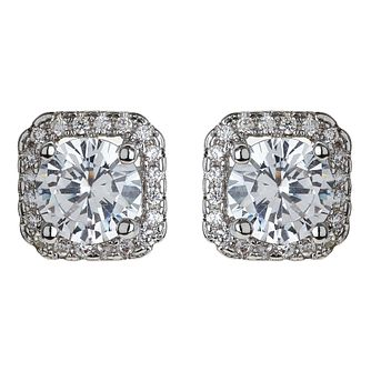 Mikey Silver Tone Square Crystal Set Pendant & Stud Earrings - Product number 4459555